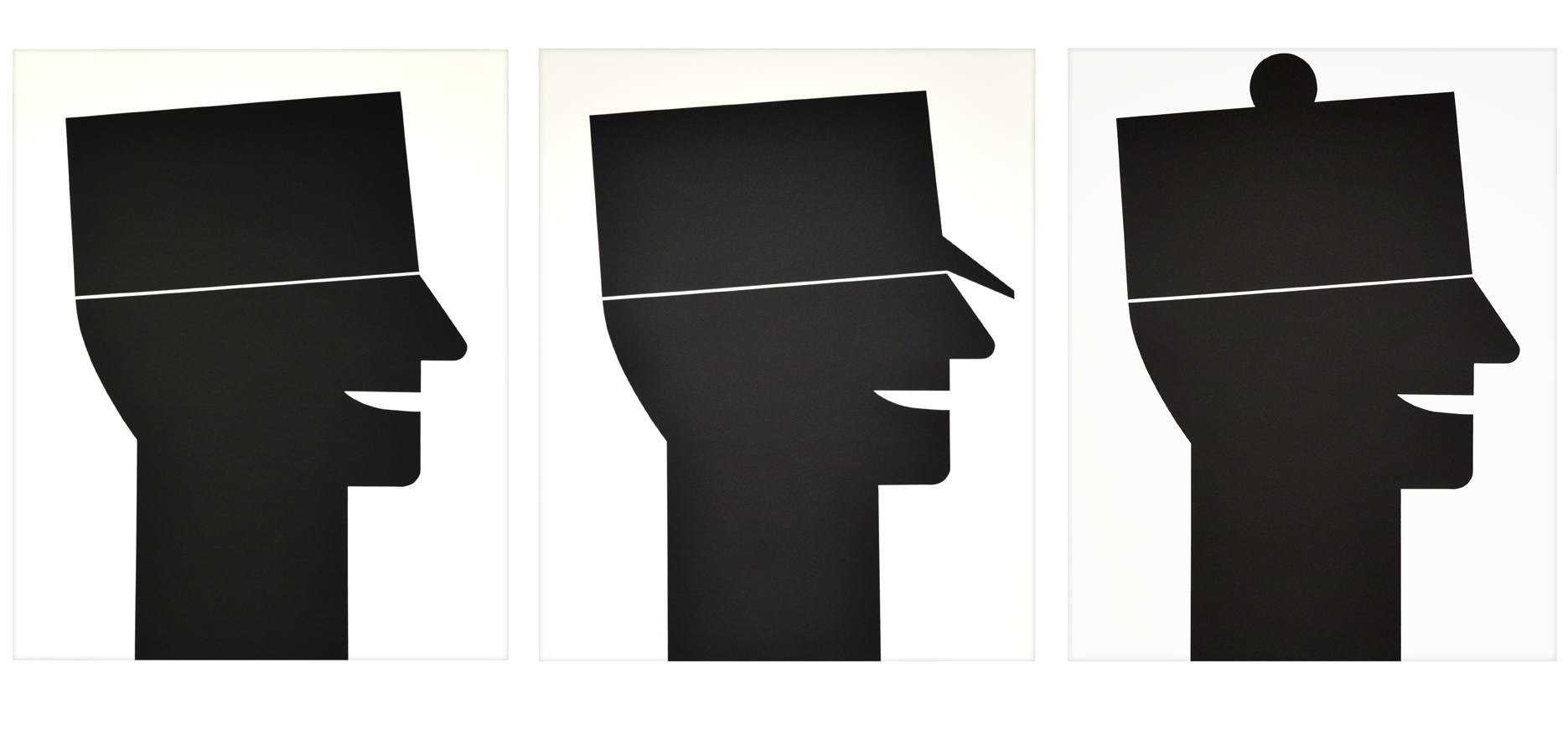 """Tryptichon """"Drei verschiedene Kopfbedeckungen"""" 1989, Siebdruck auf Büttenpapier, je 74 x 91 cm - Auflage 30"""