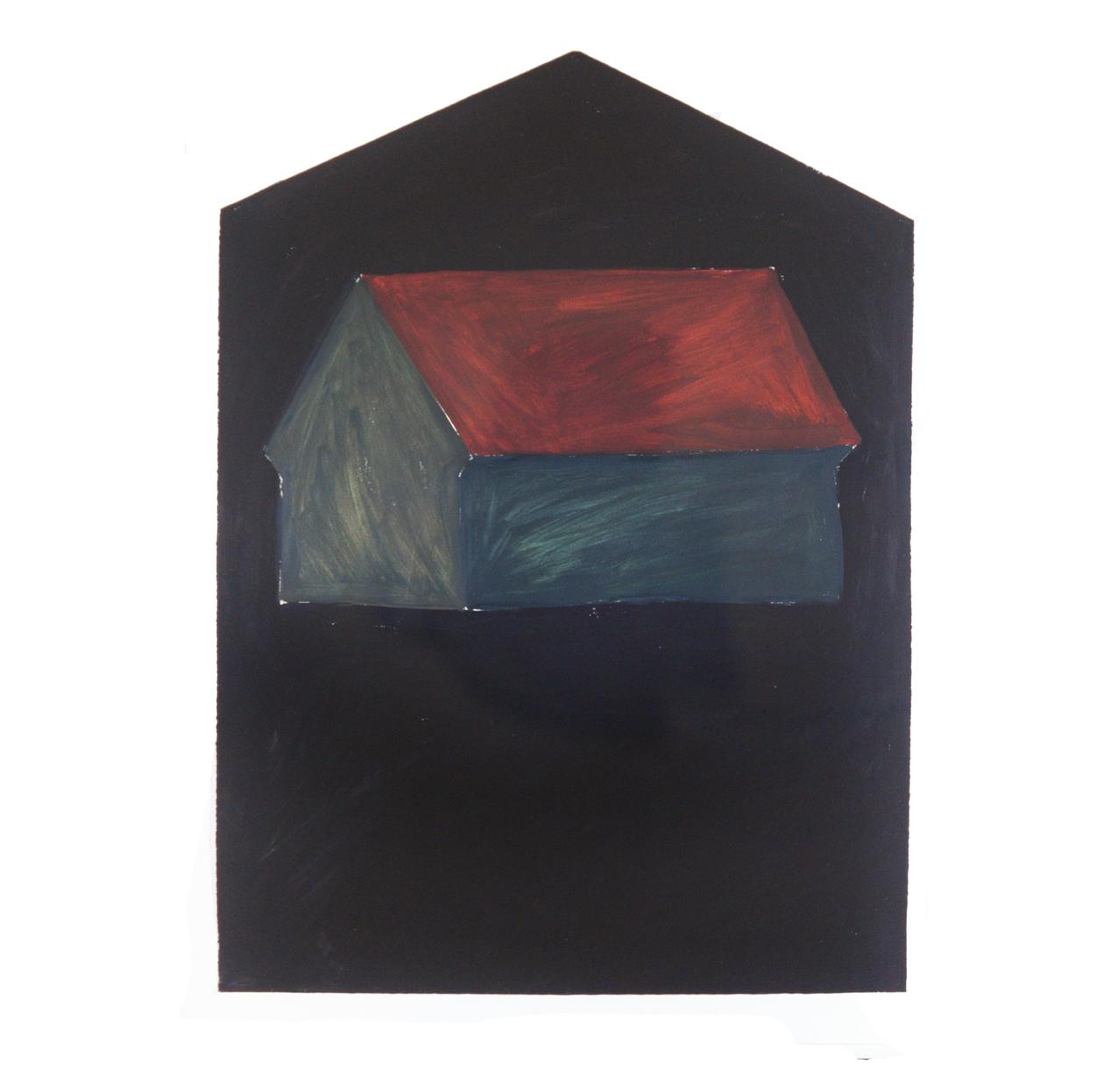 """""""Einzelhaus trüb-rechteckig"""" 1981, Öl auf Papier, 106 x 79 cm - Sammlung Tsagaris/Hilberry, Detroit - Foto Hadler/Stuhr"""