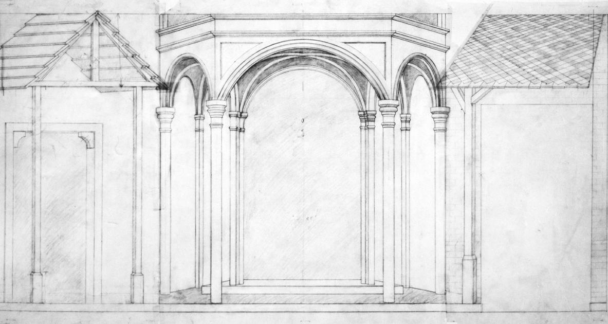 Conception de la paroi frontale à partir de motifs de Gentile da Fabiano et Lukas Moser, 1983, crayon sur papier calque - Fotos Hadler