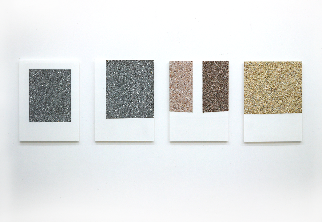"""Four-Part Relief"" 1972, stone aggregate, acrylic plastic, 81,5 x 59,7 x 1,5 cm - Collection Gilbert & lila Silverman, Detroit - Photo Nic Tenwiggenhorn"
