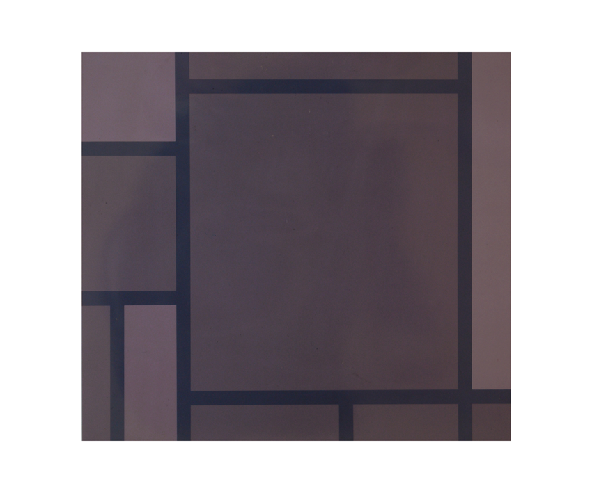 """""""Mondrian gris"""", 1991, vernis de voiture sur tôle d'acier, 82,2 x 90,2 x 2,5 cm - Photo Nic Tenwiggenhorn"""