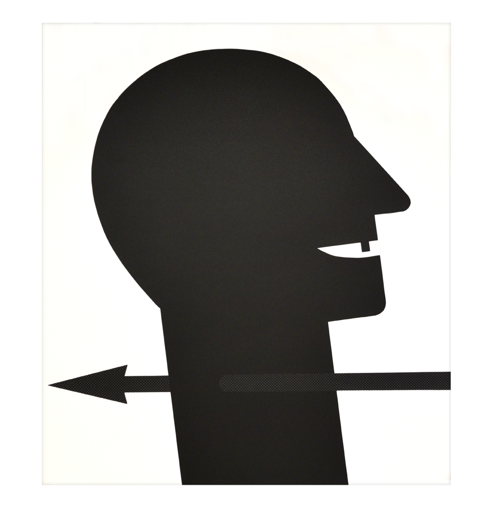 """Head with Arrow"" 1989, silkscreen on fleece, 74,2 x 83,6 cm - Edition: 40"
