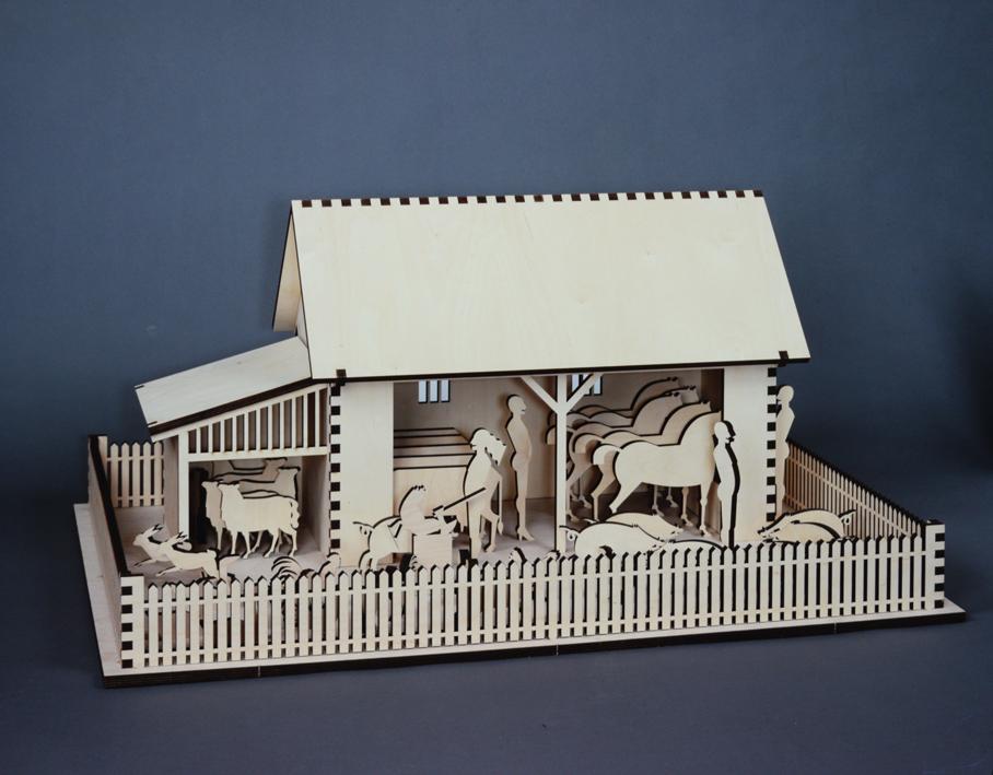 """""""Bauernhof"""" 2001, Schichtholz gelasert, 100,5 x 75,5 cm - Foto Hadler"""