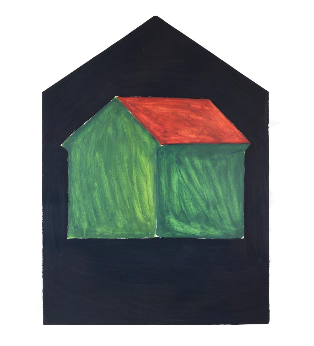 """""""Einzelhaus Grass-grün"""" 1981, Öl auf Papier, 106 x 79 cm  - Foto Hadler/Stuhr"""