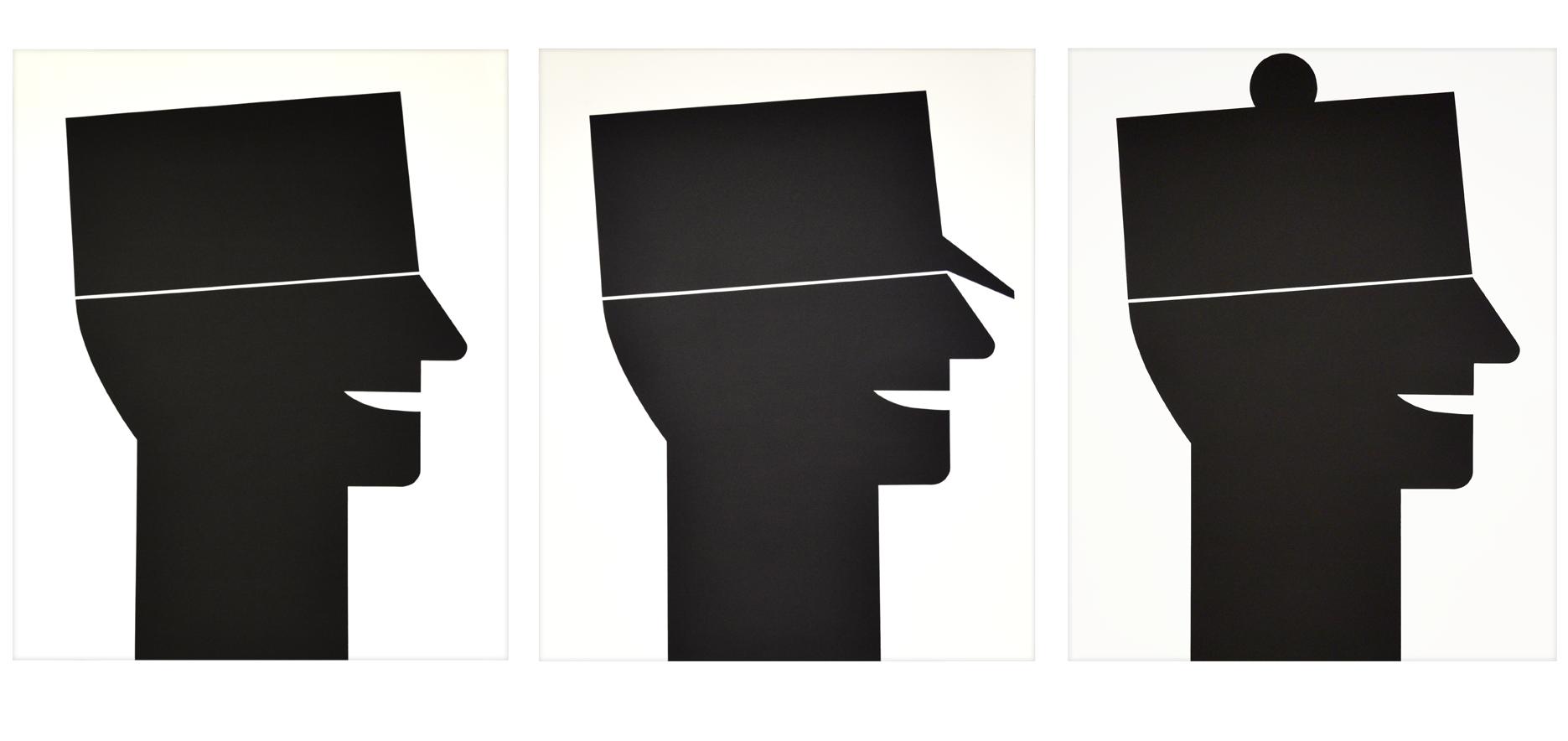 """Tryptique """"Trois couvre-chefs différents"""" 1989, sérigraphie sur papier à la cuve,  74 x 91 cm chaque - édition 30"""