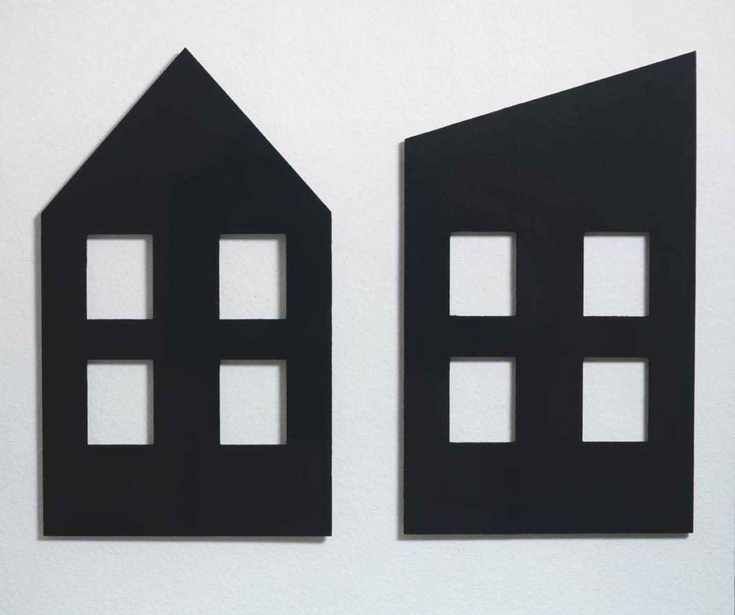 """""""Etude en deux parties pour paysage urbain"""" 1986, fonte, vernis  92 x 54,5 x 0,9 cm chaque - Collection Kemmler, Tübingen, Allemagne - Photo Hadler/Stuhr"""