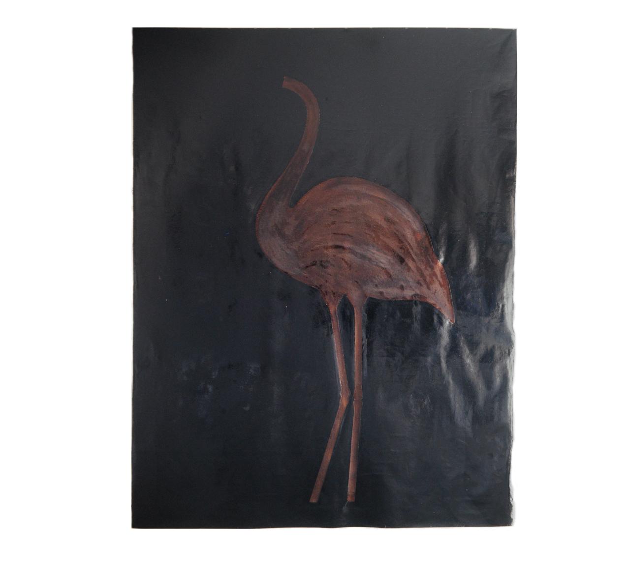 """Flamingobild"" 1981, Teer, Goldbronze auf Leinwand, 275 x 210 cm - Sammlung Don & Nancy Eiler, Madison, Wisconsin - Foto Stephan Hadler"