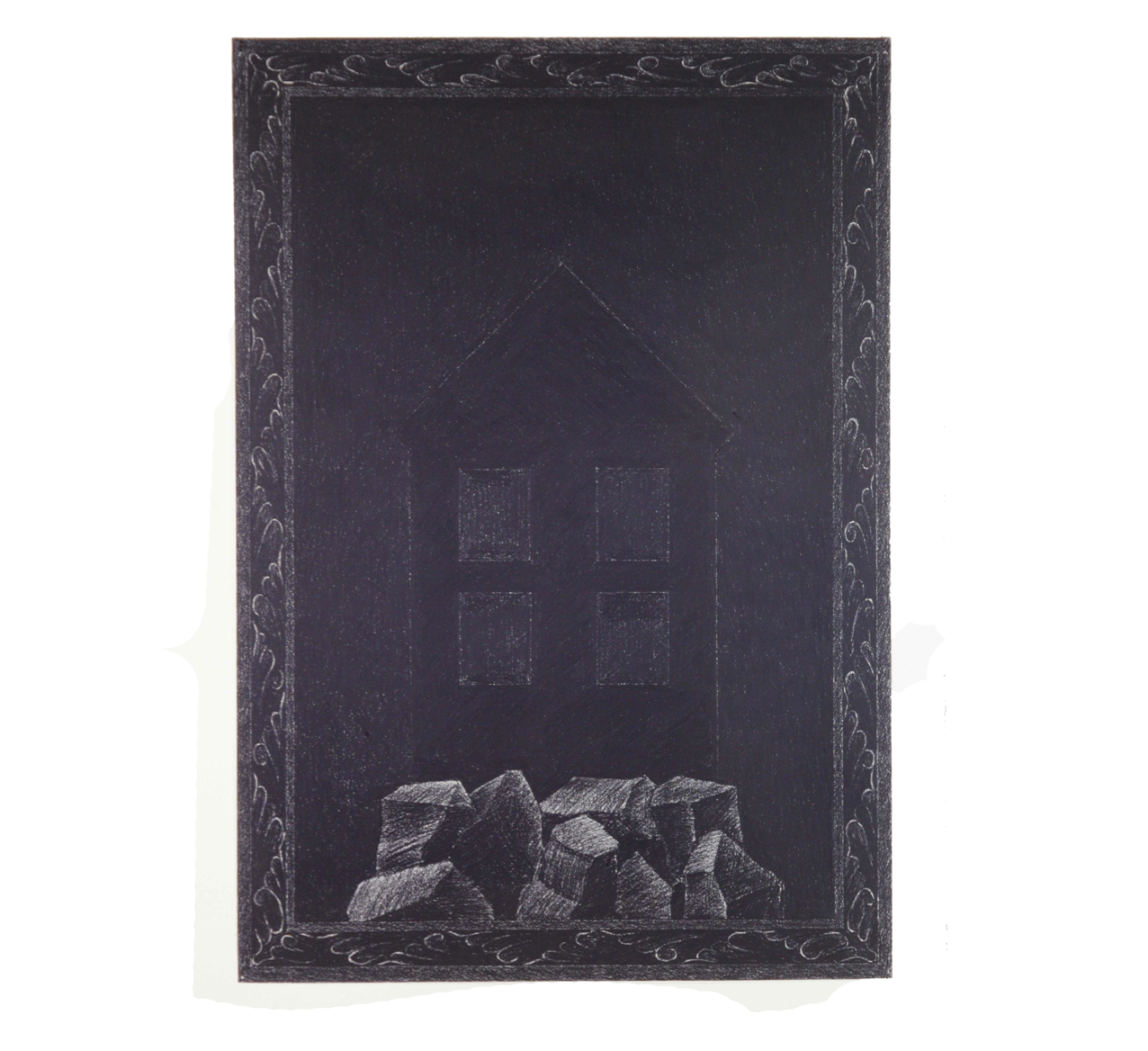 """House on Rocks with Border"" 1980, charcoal on paper, 90 x 63 cm - Photo Hadler/Stuhr"