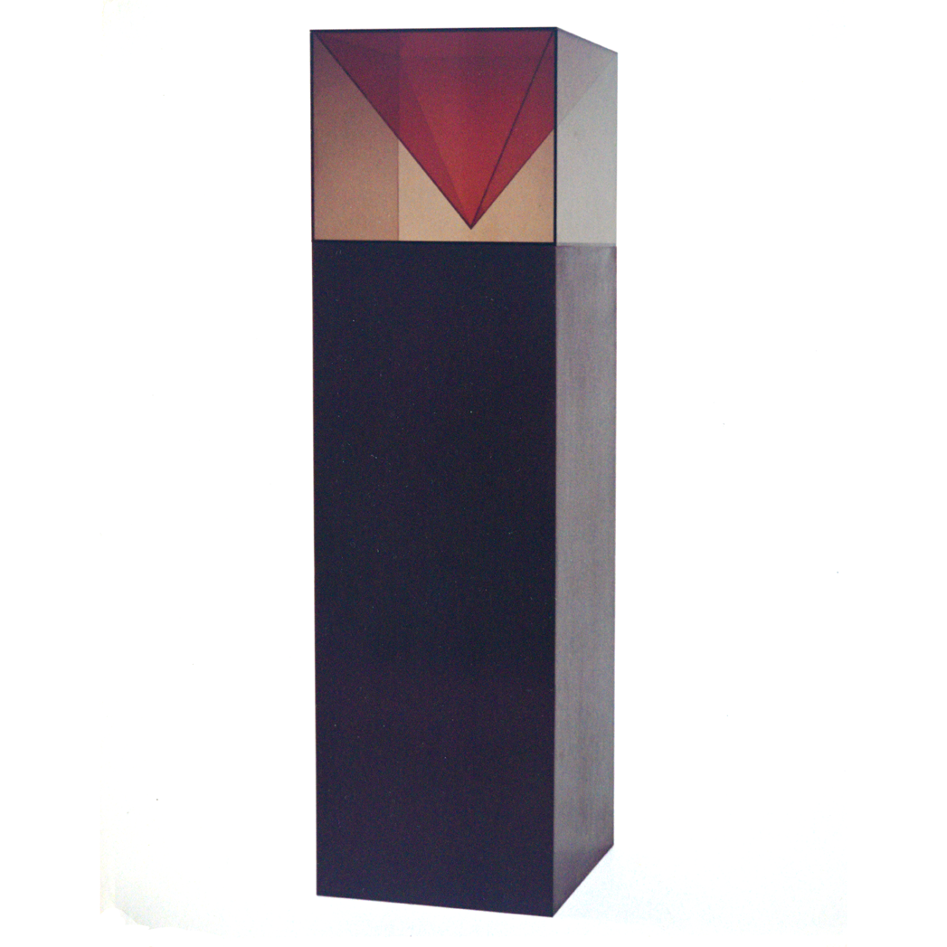 """Orange Pyramid"" 1968, acrylic plastic, epoxy, wood, 170 x 50 x 50 cm - Collection Gilbert & Lila Silverman, Detroit"
