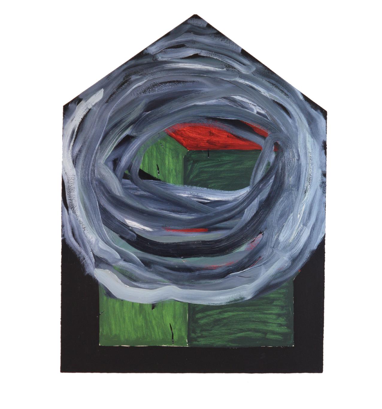 """Doppelhaus kreisförmig übermalt grau"" 1981, Öl auf Papier, 106 x 79 cm  - Foto Hadler/Stuhr"