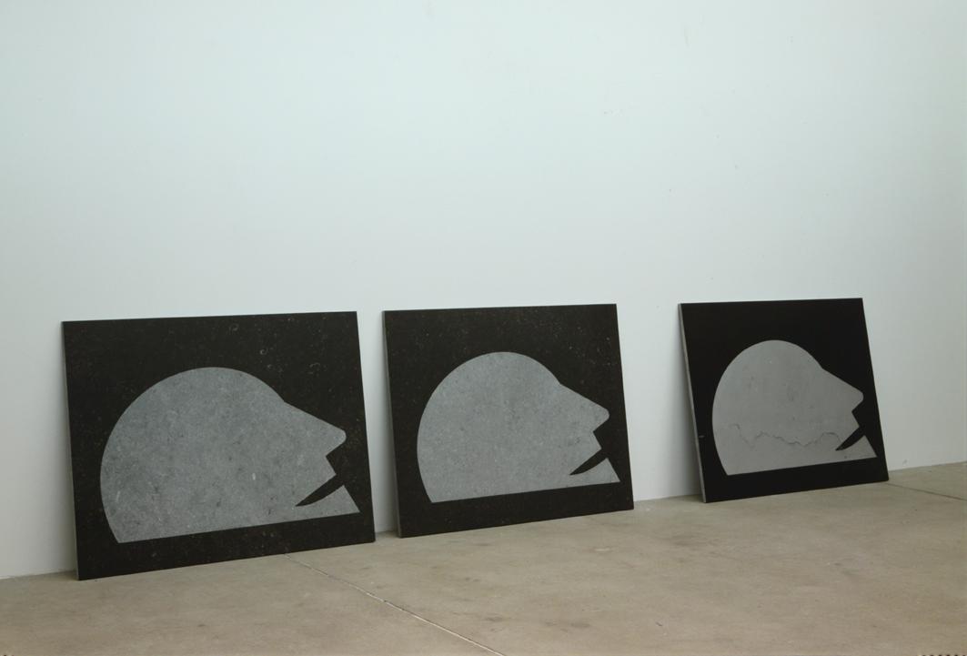 """Swimmer"" 1987, sandblasted stone (belgian granite), 114 x 88 x 2 cm"