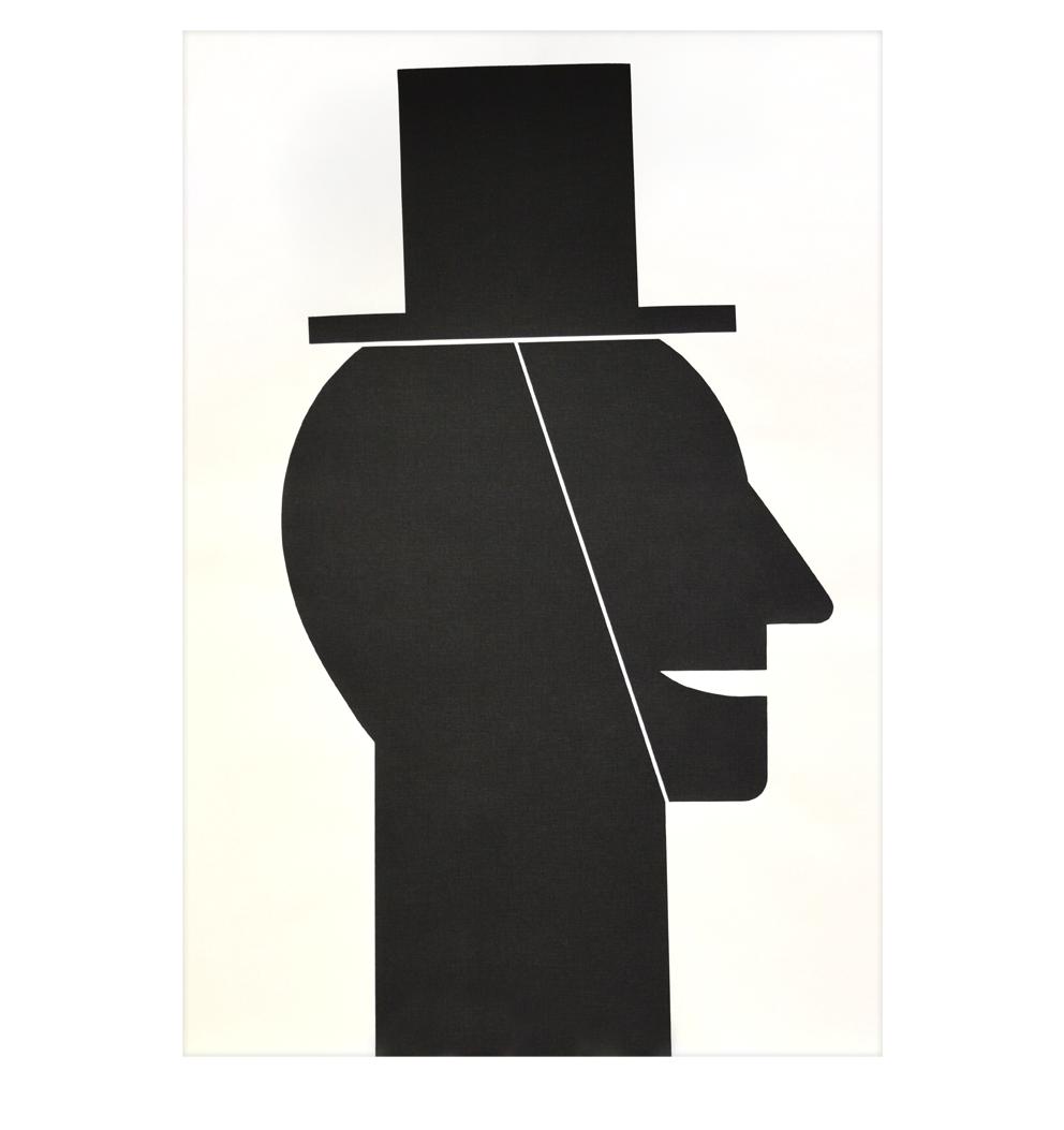 """""""Kopf mit Hut"""" Siebdruck auf Vlies, 71 x 104 cm - Auflage 57"""