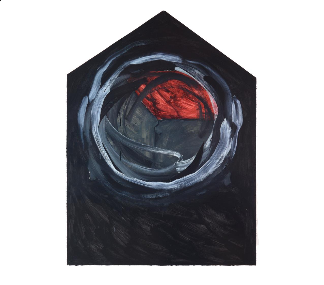 """""""Einzelhaus kreisförmig übermalt, schwarz"""" 1981, Öl auf Papier, 106 x 79 cm - Foto Hadler/Stur"""
