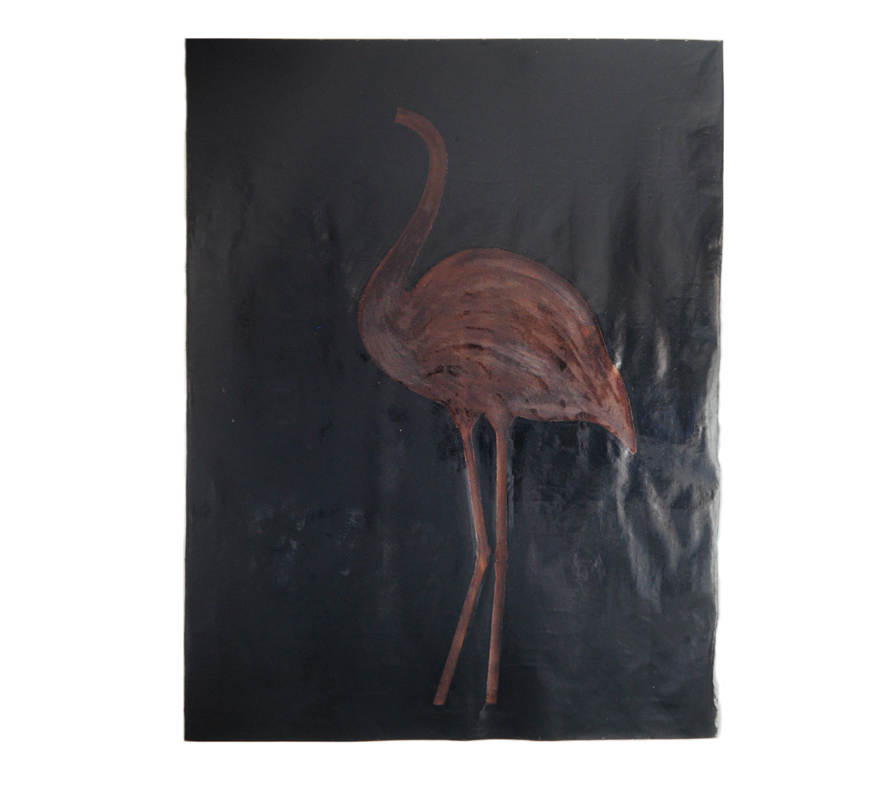 """Picture of a Flamingo"" 1981, tar, bronze paint on canvas, 275 x 210 cm - Cammlung Don & Nancy Eiler, Madison, Wisconsin - Photo Stephan Hadler"