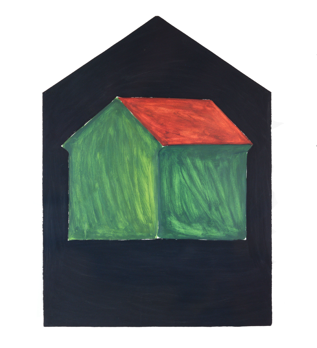 """Single House, grass green"" 1981, oil on paper, 106 x 79 cm  - Photo Hadler/Stuhr"