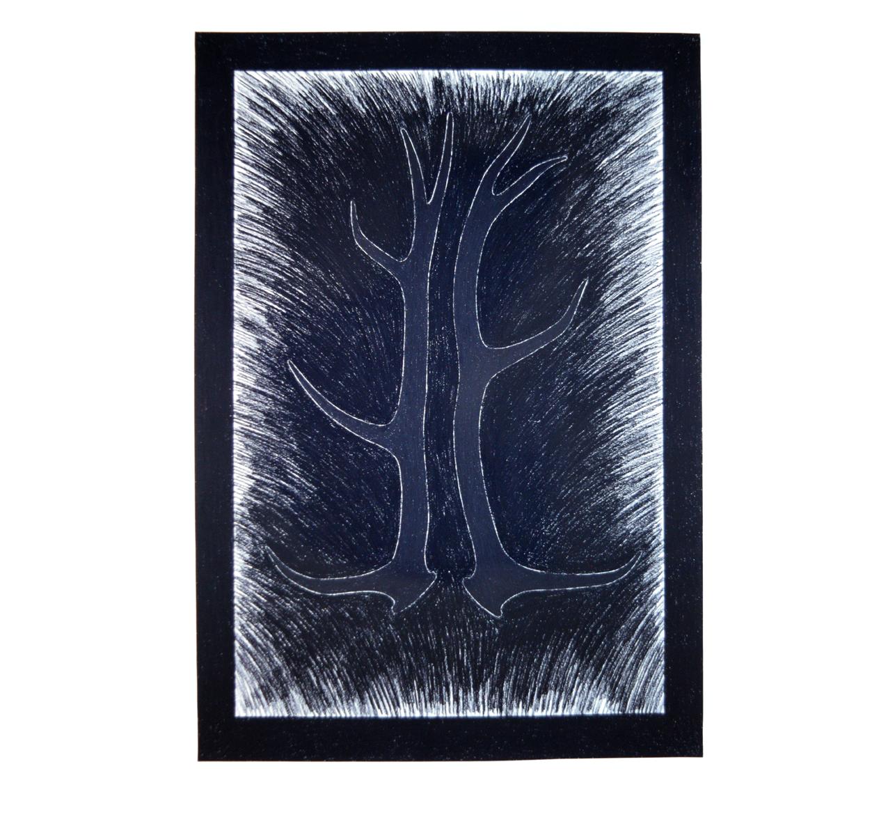"""""""Geweihe"""" 1981, Kohle und Fettkreide auf Papier, 157 x 115 cm - Foto Hadler/Stuhr"""