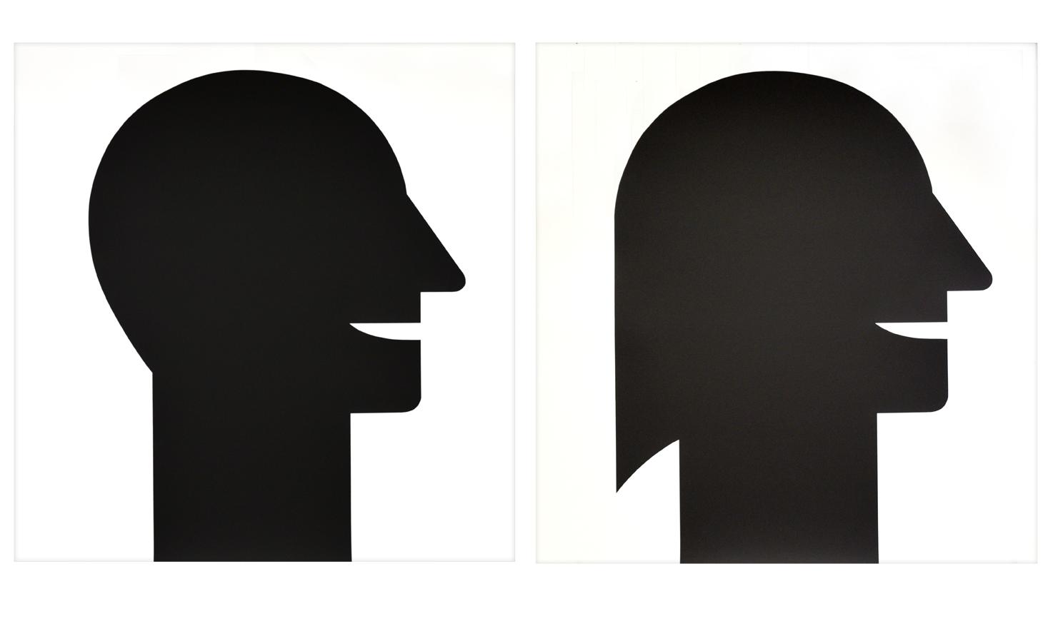 """Dyptichon """"Mann und Frau"""" 1989, Siebdruck auf Papier von Rolle, je 88,1 x 91 cm - Auflage 30"""