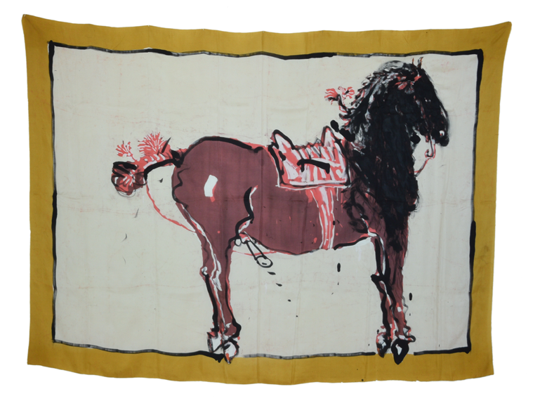 """Painted over Horse"" 1980, batik, ink on silk 145 x 205 cm - Photo Hadler/Stuhr"