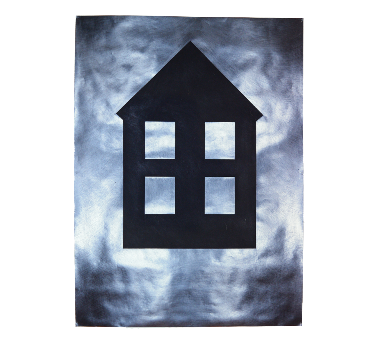"""Drawing of House"" 1981, charcoal, electrographic pencil on paper, 157 x 115 cm - Sammlung Michael Tilman - Photo Stephan Hadler"