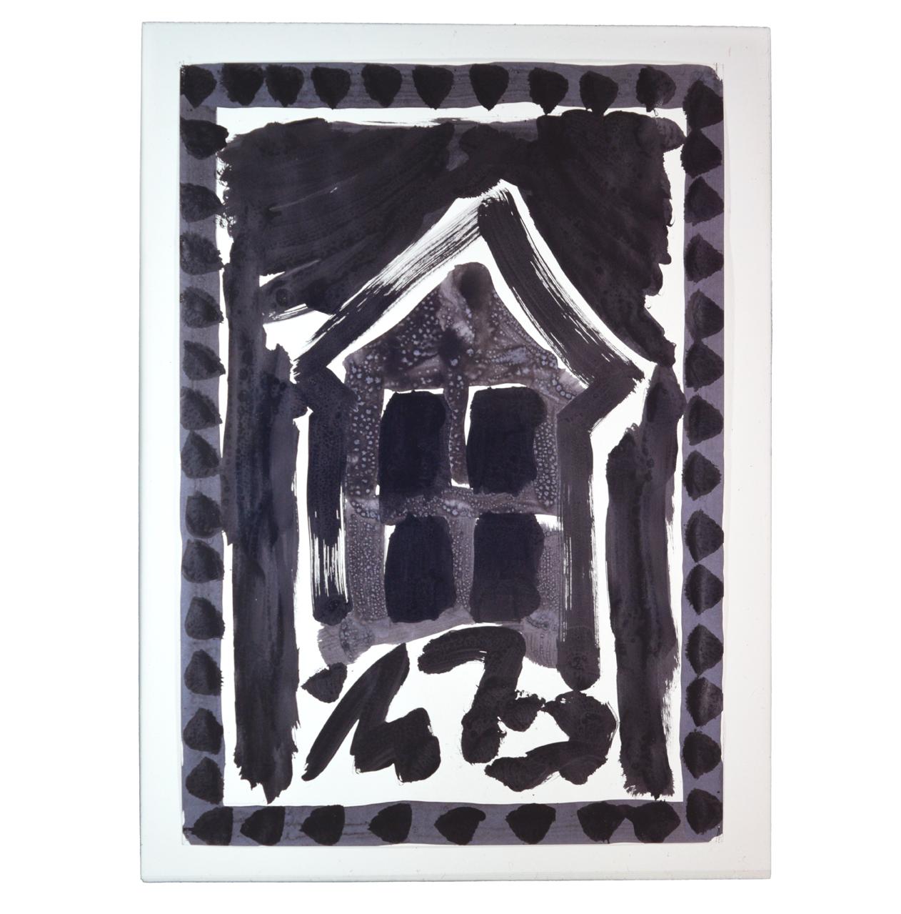 """""""Maison sur rochers"""" 1980, encre de Chine sur papier, 90 x 63 cm - Photo Hadler/Stuhr"""