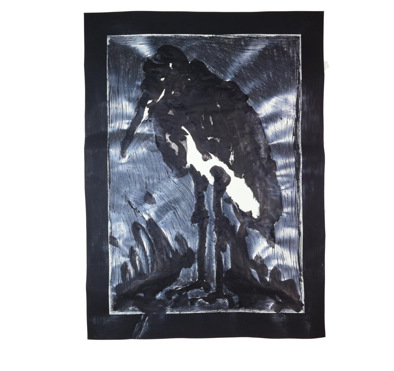 """""""Image d'un marabout"""" 1981, fusain, graphite, encre de Chine sur papier, 157 x 115 cm - Photo Hadler/Stuhr"""