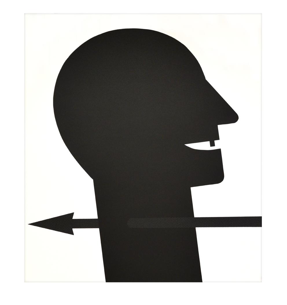 """""""Tête avec flèche"""" 1989, sérigraphie sur étoffe non-tissée, 74,2 x 83,6 cm - édition 40"""