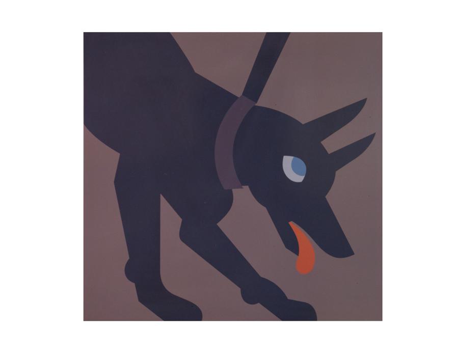 """Hund"" 1991, Autolack auf Stahlblech, 82,2 x 84,5 x 2,5 cm - Foto Nic Tenwiggenhorn"