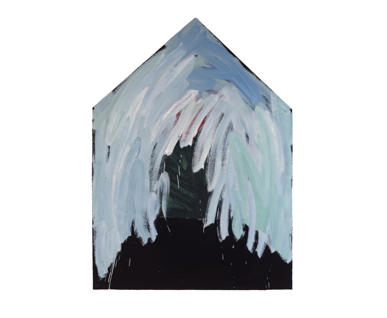 """Einzelhaus weiss übermalt"""" 1981, Öl auf Papier, 106 x 79 cm - Foto Hadler/Stur"""