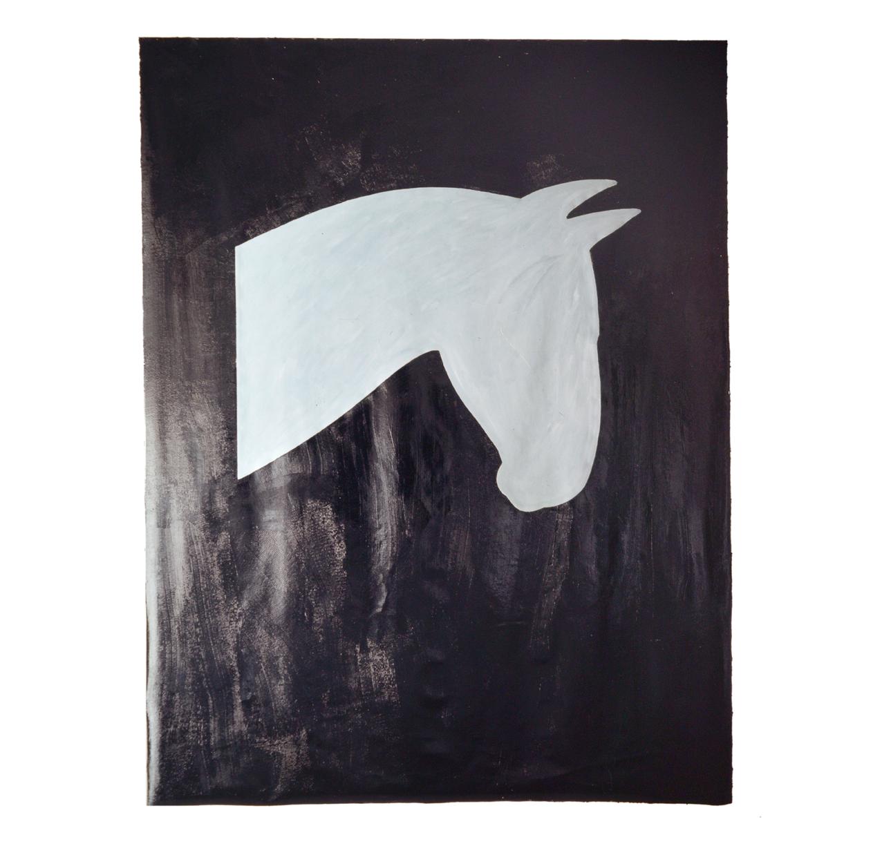 """""""Image d'un cheval gris clair"""" 1981, goudron, l'huile sur toile, 275 x 210 cm - Collection Kaiser Wilhelm Museum Krefeld, Allemagne - Photo Stephan Hadler"""