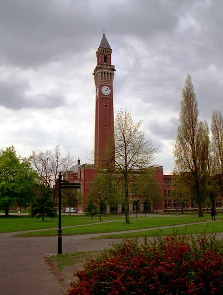 The clock tower and university campus.   The tower has been known to generations of undergraduates as 'Old Joe' after the university's effective founder, Joseph Chamberlain.  The tower is 325' high and was for long the tallest building in Birmingham.