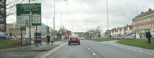 Wells Green junction on the Coventry Road. Image downloaded from Geograph OS reference SP1583 © Copyright Bill Payer and licensed for reuse under Creative Commons Licence.