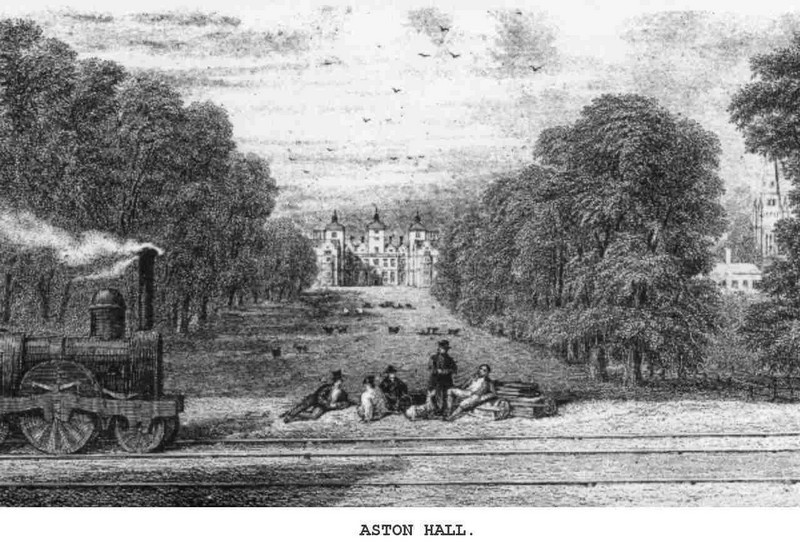 Aston Hall. Image from Samuel Sidney 1851 'Rides on Railways', a work in the public domain.