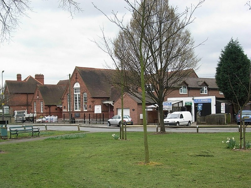 Minworth Green, the school to the left, the former smithy to the right
