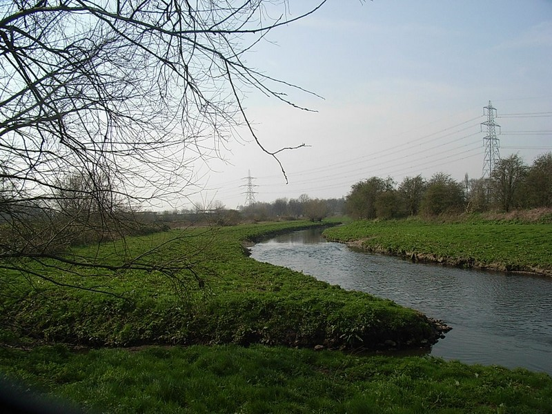 The River Tame upstream from Water Orton looking towards the site of Minworth Mill