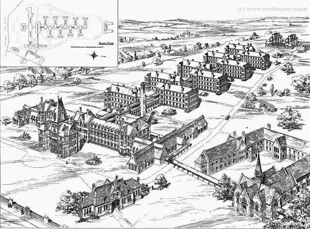 W H Ward's infirmary erected west of the workhouse in 1888. Image from the Workhouses website used with the permission of Peter Higginbotham. 'All Rights Reserved'.