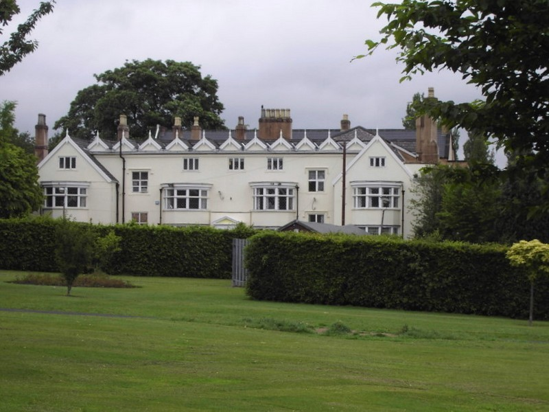 Pype Hayes Hall - west front. The grassed area in front of the hall has strips of ridge and furrow which are not easily seen on this photograph.