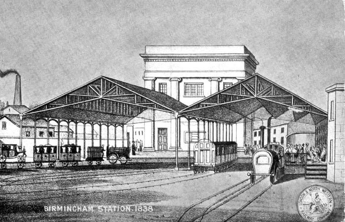 Curzon Street Station - rear. Osborne's Guide to the Grand Junction Railway 1838, a work now in the public domain.