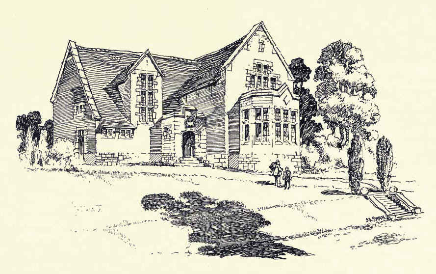 Rusking College from W Alexander Harvey 1906 The Model Village and its Cottages: Bournville - see Acknowledgements for a direct link to the Internet Archive. Drawing probably by Harvey.