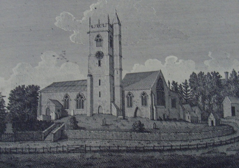 St Mary's Church c1798 from Stebbing Shaw 1801 History and Antiquities of Staffordshire, a work now in the public domain.