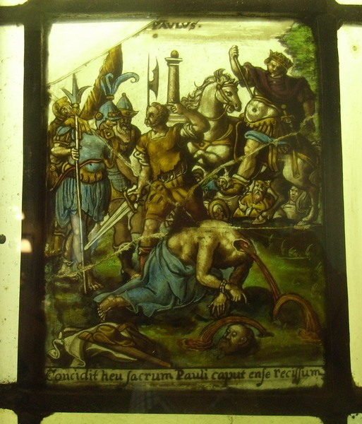 Stained glass c1590 - the martyrdom of St Paul