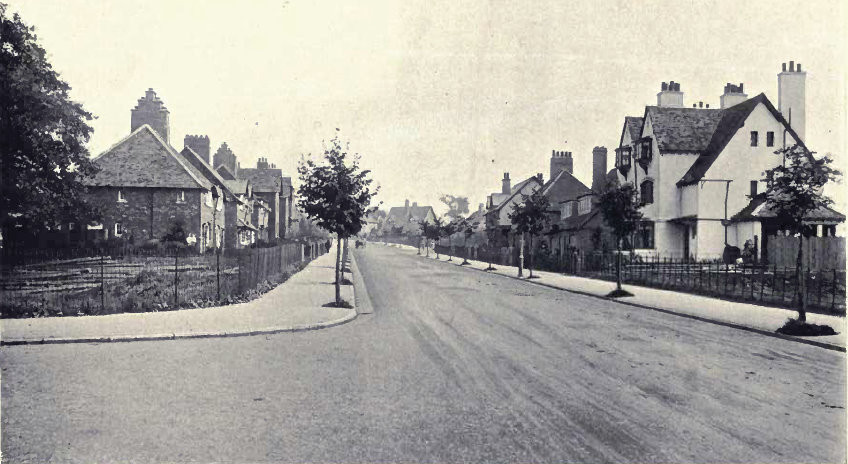 Bournville - Sycamore Road from W Alexander Harvey 1906 The Model Village and its Cottages: Bournville - see Acknowledgements for a direct link to the Internet Archive. Photographs by T Lewis and Harold Baker of Birmingham.