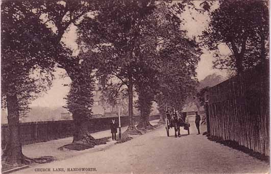 Church Lane, Handsworth - date unknown. Grateful thanks and acknowledgements for the use of this postcard to JKC on the Birmingham History Webring Forum. See Acknowledgements.
