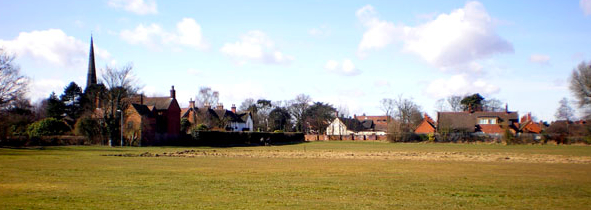 Yardley church and village viewed from Old Yardley Park. Image by Robert C Jones on the Birmingham Conservation Trust website