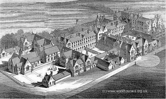 Architect's bird's-eye view of Birmingham Workhouse c1852 designed by J J Bateman. Image from the Workhouses website used with the kind permission of Peter Higginbotham. 'All Rights Reserved'. See Acknowledgements for a link to that website.