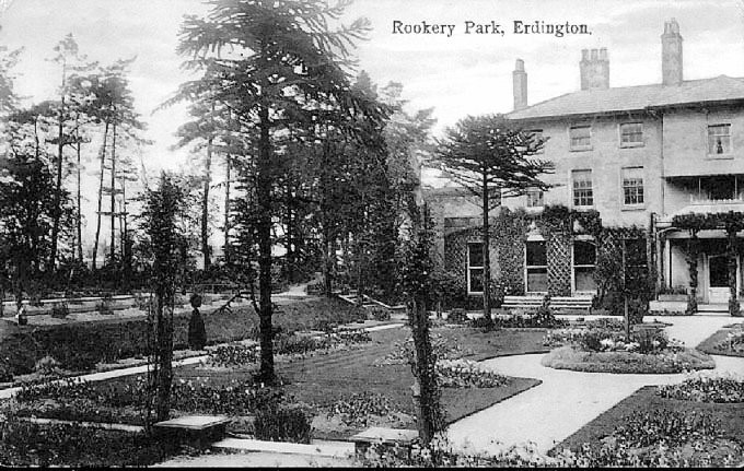 Rookery House c1925. Image, now free of copyright, downloaded from the late Peter Gamble's Virtual Brum website. See Acknowledgements for a direct link to this site.