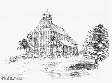 A conjectural drawing, based on surviving medieval timber, by the local architect C E Bateman showing the medieval appearance of the church.