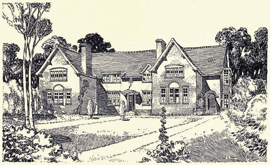 from W Alexander Harvey 1906 The Model Village and its Cottages: Bournville - see Acknowledgements for a direct link to the Internet Archive. Drawing probably by Harvey.