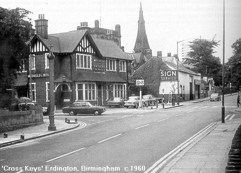 The Cross keys 1960. Image, now free of copyright, downloaded from the late Peter Gamble's Virtual Brum website. See Acknowledgements for a direct link to this site.