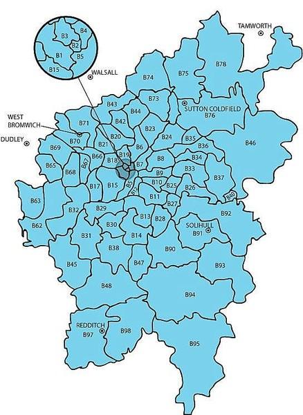 Birmingham Postcodes Map