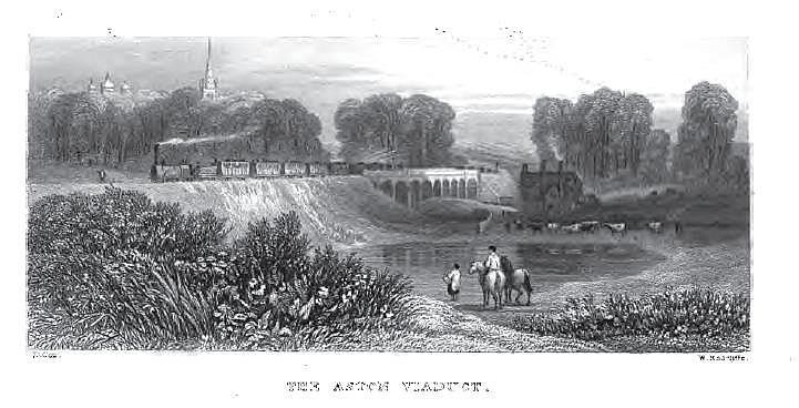 Aston Viaduct from Thomas Roscoe 1839 The Book of the Grand Junction Railway, a work in the public domain